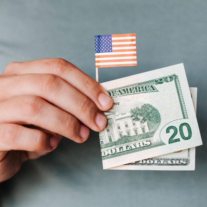 Entrepreneur Aligned Cash and Flag